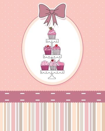 kiválasztás: Ínycsiklandó cupcakes és muffin bemutatott többszintű display