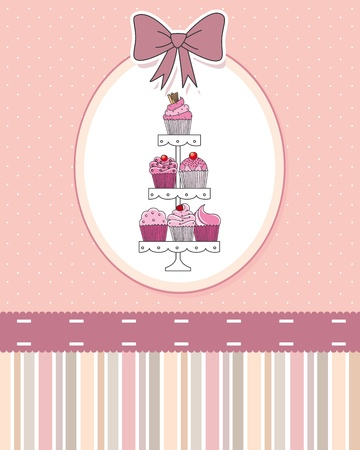 A selection of delicious cupcakes and muffins presented on multi-tiered display stand   Vector