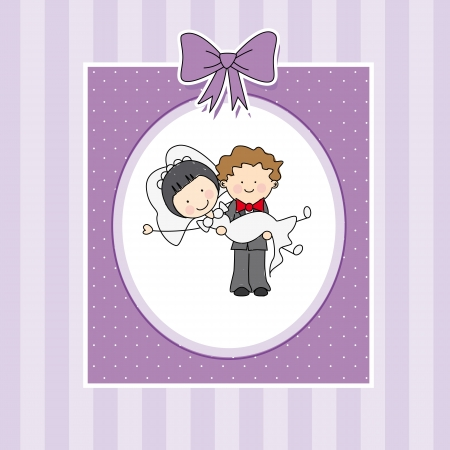 cartoon wedding couple: wedding invitation card  Couple