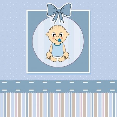 baptism: Baby boy arrival announcement card   Illustration