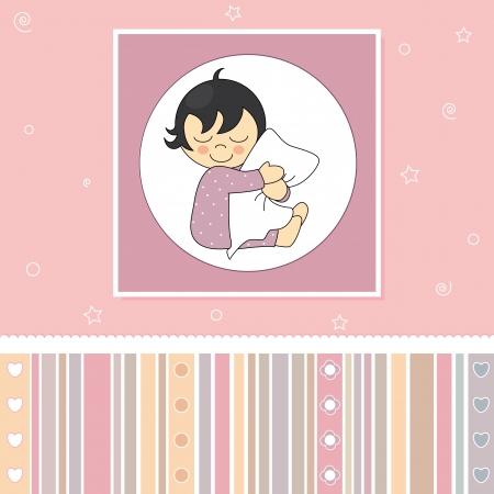 Postal tender baby  Girl hugging her pillow Vector