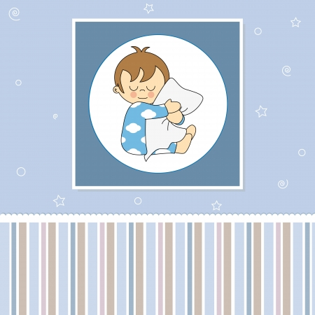 Sweet baby card  Sleeping child hugging the pillow  Vector