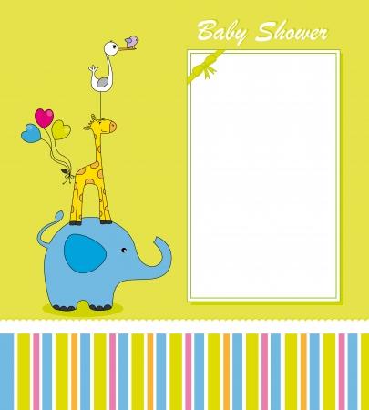 invitacion baby shower: Tarjeta de Diversión animal. Espacio para el texto