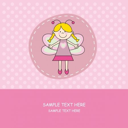 Baby girl arrival announcement card.girl with butterfly costume  Vector
