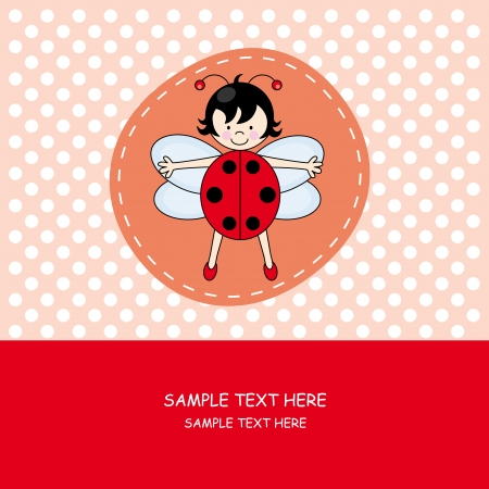 cartoon ladybug: Baby girl arrival announcement card.girl with ladybug costume