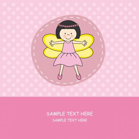 Baby girl arrival announcement card.girl with princess costume  Vector