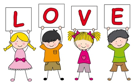little boy cartoon: children with a sign saying love