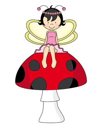 Fairy sitting on a mushroom Illustration