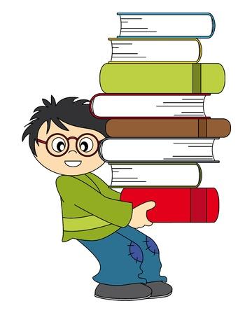 reading glass: Ni�o con una gran cantidad de libros para estudiar. Dibujo fondo blanco