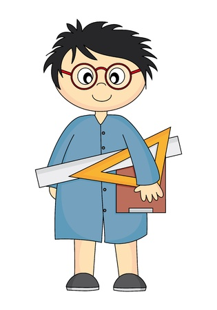 boy with glasses: Architecture student. Child with rules in hand