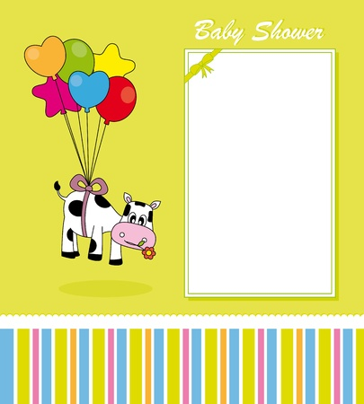 Baby Card. cow with balloons Vector