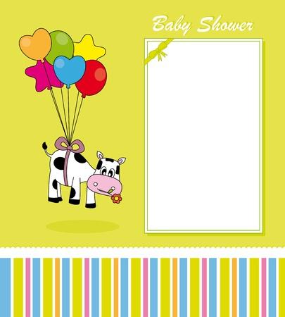 vaca caricatura: Tarjeta de Baby. vaca con globos