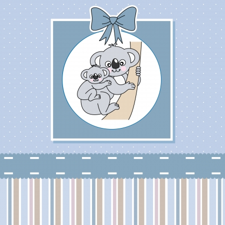 new baby shower card . Cute Koala  Vector