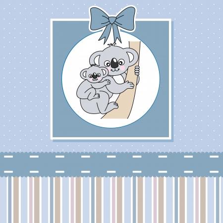 new baby shower card . Cute Koala  Vector