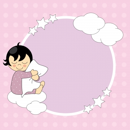 Frame baby girl. Sleeping child hugging the pillow  Vector