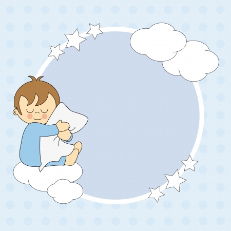 Frame baby boy. Sleeping child hugging the pillow  Vector