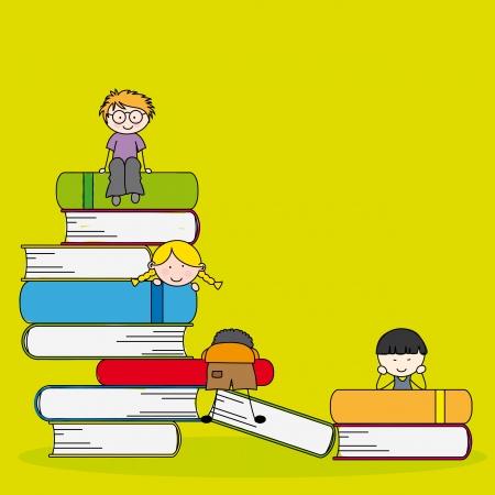 reading glass: Una ilustraci�n vectorial de los estudiantes y los libros, se puede utilizar para el concepto de educaci�n de los ni�os