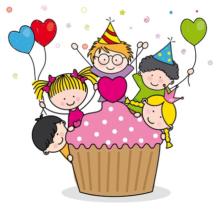 Celebrating birthday party  Stock Vector - 14243392