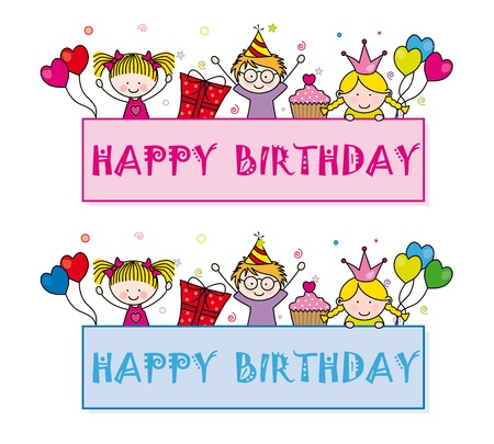 Cute cartoon kids frame. Celebrating birthday party Stock Vector - 14243394