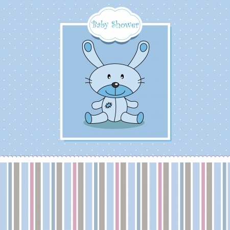 Baby boy arrival announcement. Stuffed rabbit  Vector