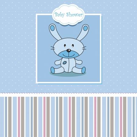 Baby boy arrival announcement. Stuffed rabbit Stock Vector - 14342156