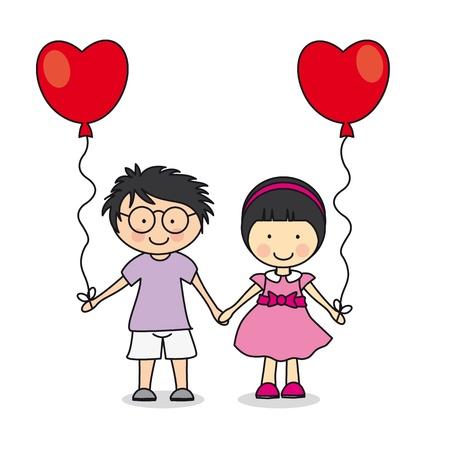 the first love: El primer amor. Los ni�os con globos. ilustraci�n de amor