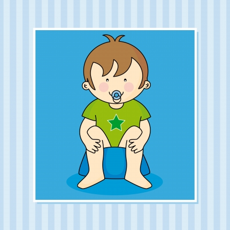 Baby boy sitting on the potty Vector