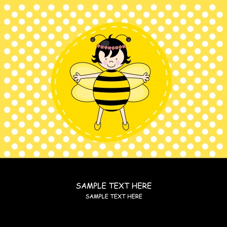 Baby girl arrival announcement card.girl with bee costume Stock Vector - 14342155