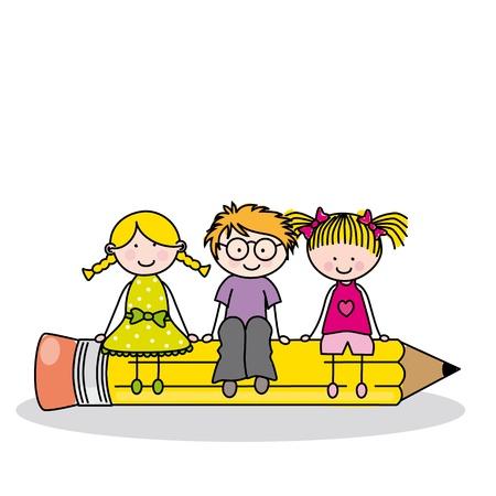 cartoon school: Karte wieder in die Schule Illustration