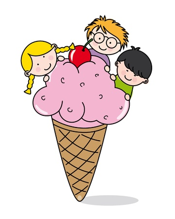 Happy children eating ice cream  Vector