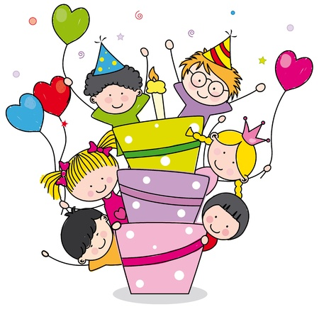 birthday party: Birthday card  Children at birthday party Illustration