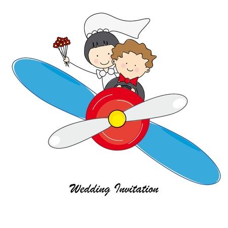 recien casados: invitación de la boda Novios volar en avión Vectores