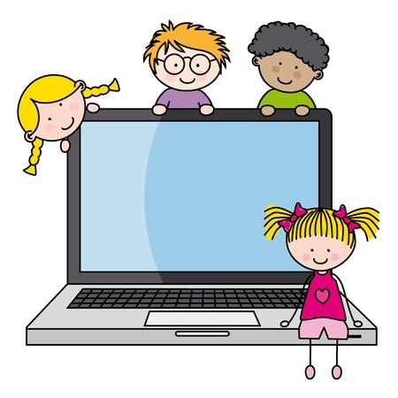 computadora caricatura: los niños con un vector de equipo divertido, aisladas sobre fondo blanco Vectores