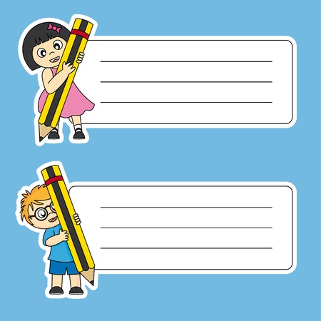 children writing: tags labels school