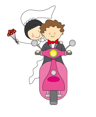 cartoon wedding couple: wedding invitation  Just married by motorcycle