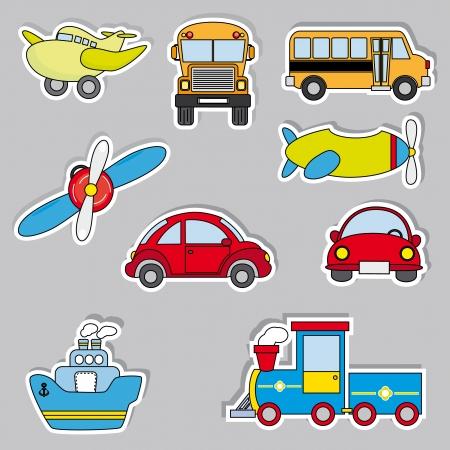 transportation sticker icons Vector