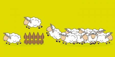 cartoon sheep: Stickers children room  Sheep jumping a fence Illustration