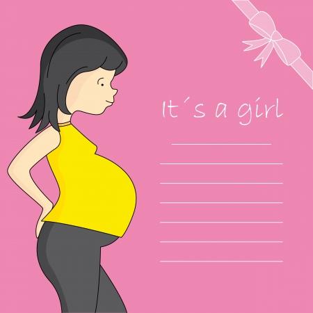 Baby girl birth greeting card Vector