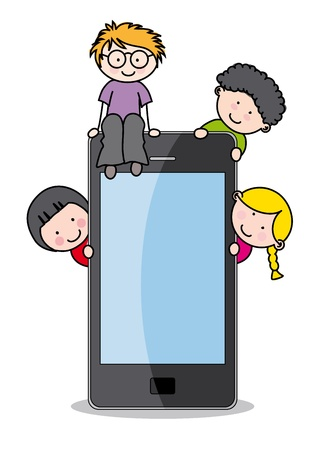 children with a cell phone.. Funny vector, isolated on white background Vector
