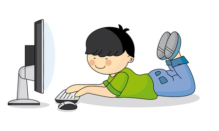 Child using the computer Vector