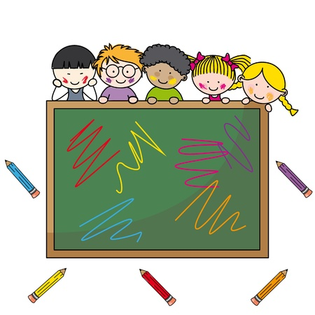 preschool classroom: illustration of school boys with chalkboard and education item