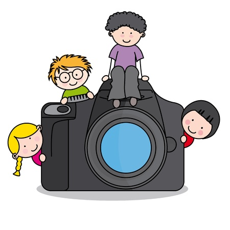 children in class: children with a camera. Funny isolated on white background