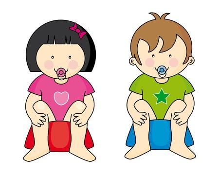 t�pfchen: Kinder auf dem T�pfchen