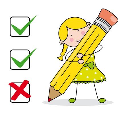 remplissage: Fille remplir un questionnaire Illustration