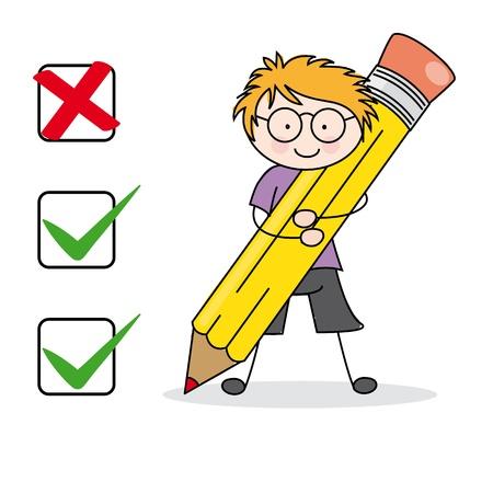 filling: Boy filling a questionnaire
