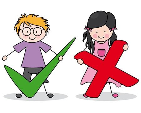 niños escribiendo: niños con signos bien y el mal Vectores