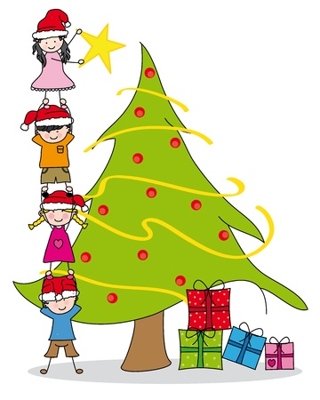 Children decorating a Christmas tree Stock Vector - 15098175