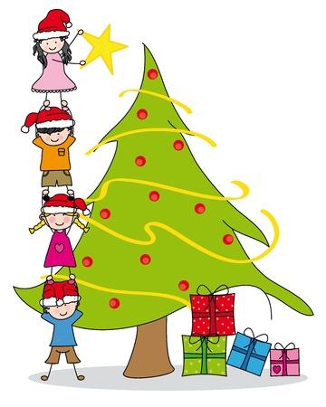escuela infantil: Los niños decorar un árbol de Navidad Vectores