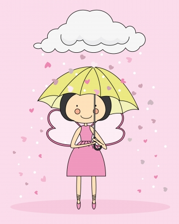 Fairy with an umbrella Vector