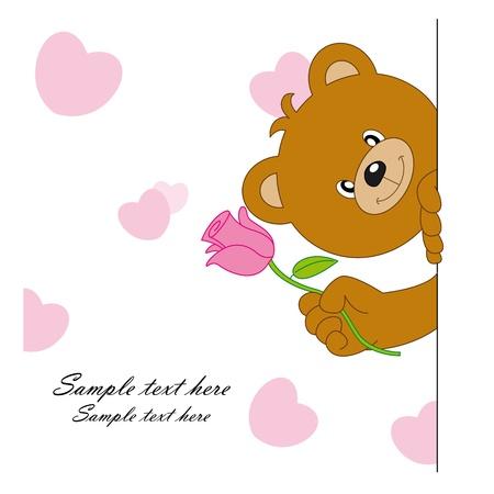 animal: love postcard. bear giving a flower Illustration